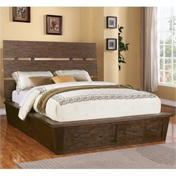 Bowery Hill California King Storage Panel Platform Bed in Warm Cocoa
