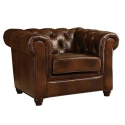 Bowery Hill Leather Arm Chair in Brown