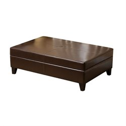 Bowery Hill Leather Storage Ottoman Bench in Dark Truffle