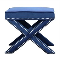 Bowery Hill Tufted Nailhead Ottoman Bench in Blue