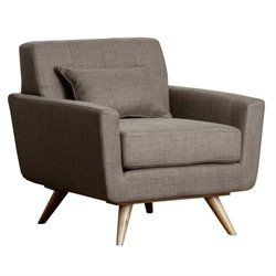 Bowery Hill Fabric Tufted Arm Chair in Brown
