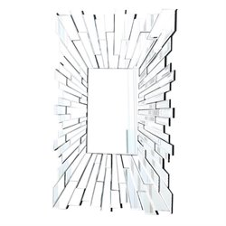 Bowery Hill Glass and Wood Mirror in Silver