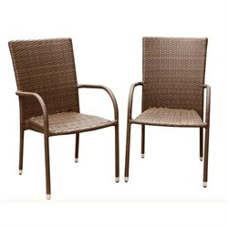 Bowery Hill Outdoor Wicker Dining Chair in Brown (Set of 2)