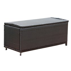 Bowery Hill Outdoor Wicker Storage Ottoman in Black