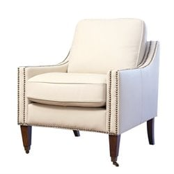 Bowery Hill Leather Arm Chair in Ivory
