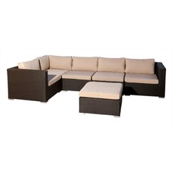 Bowery Hill 6 Piece Patio Wicker Sectional in Espresso
