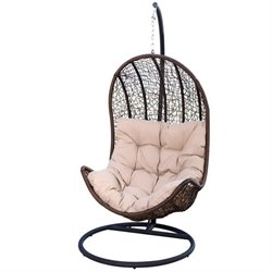 Bowery Hill Outdoor Wicker Egg Shaped Chair in Espresso