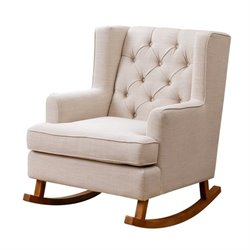 Bowery Hill Fabric Rocking Chair in Beige