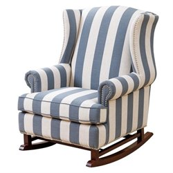Bowery Hill Fabric Rocking Chair in Blue and Ivory