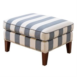 Bowery Hill Fabric Ottoman in Blue and Ivory