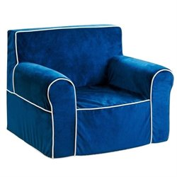 Bowery Hill Kids Mini Fabric Armchair in Navy Blue