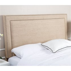 Bowery Hill Linen Upholstered Full Queen Headboard in Wheat