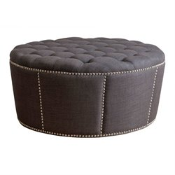 Bowery Hill Nailhead Leather Round Ottoman in Gray