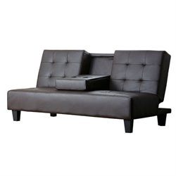 Bowery Hill Leather Sleeper Sofa in Brown