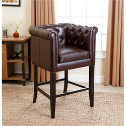 Bowery Hill Leather Bar Stool in Dark Brown