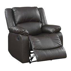Bowery Hill Faux Leather Recliner in Java