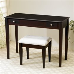 Bowery Hill 2 Piece Wood Vanity Set with Mirror in Dark Brown