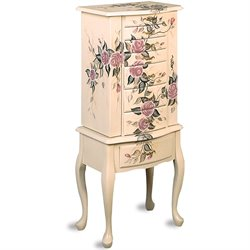 Bowery Hill Hand Painted Rose Pattern Jewelry Armoire in White