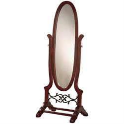 Bowery Hill Oval Cheval Mirror in Dark Cherry