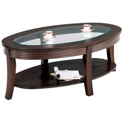 Bowery Hill Glass Top Coffee Table in Cappuccino