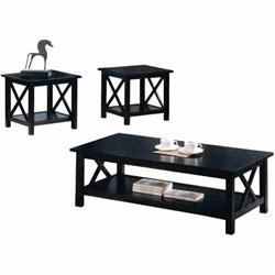 Bowery Hill 3 Piece Casual Occasional Table Set in Cappuccino
