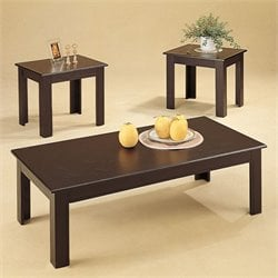 Bowery Hill 3 Piece Occasional Table Set in Black Oak
