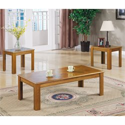 Bowery Hill 3 Piece Occasional Table Set in Natural Oak