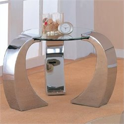 Bowery Hill Glass Top End Table in Chrome