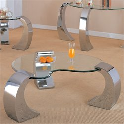 Bowery Hill Glass Top Coffee Table with Metal Base in Chrome