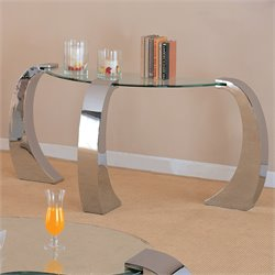 Bowery Hill Curved Glass Top Console Table with Metal Base in Chrome