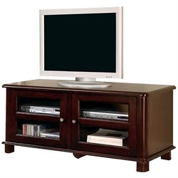 Bowery Hill TV Stand with Doors and Shelves in Cappuccino