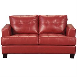 MER-757 Bowery Hill Contemporary Tufted Leather Love Seat