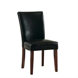 Bowery Hill Faux Leather Parsons Dining Chair in Black Leatherette