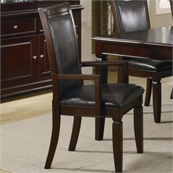 Bowery Hill Faux Leather Formal Dining Arm Chair in Walnut