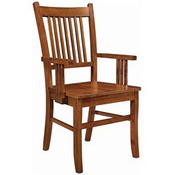 Bowery Hill Slat Back Mission Dining Arm Chair in Warm Medium Brown