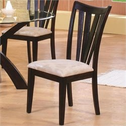 Bowery Hill Contemporary Vertical Slat Dining Chair with Fabric Seat
