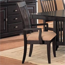 Bowery Hill Dining Arm Chair with Fabric Seat in Rich Dark Cappuccino