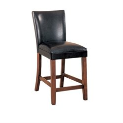 MER-757 Bowery Hill Faux Leather Stool in Black
