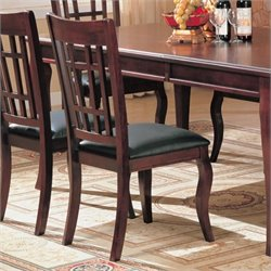 Bowery Hill Dining Chair with Faux Leather Seat in Cherry