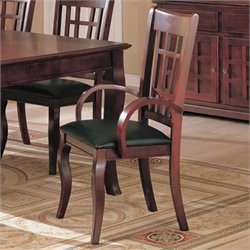 Bowery Hill Dining Arm Chair with Faux Leather Seat in Cherry