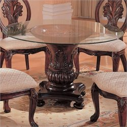 Bowery Hill Round Dining Table with Glass Top