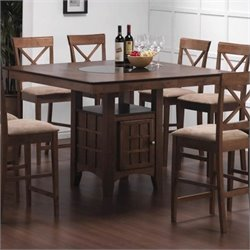Bowery Hill Square Dining Table with Storage in Walnut