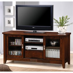Bowery Hill Transitional TV Stand with Doors and Shelves
