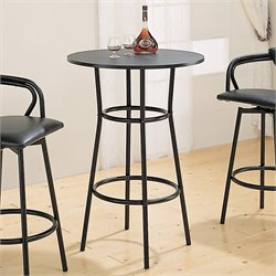 Bowery Hill Round Metal Pub Table in Black