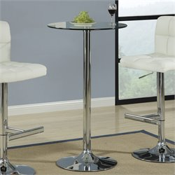 Bowery Hill Round Glass Top Bar Table with Chrome Base