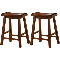 MER-757 Bowery Hill Wooden Stool in Walnut