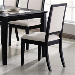 Bowery Hill Upholstered Dining Chair in Black and Creme