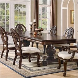 Bowery Hill Double Pedestal Dining Table in Dark Cherry
