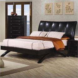 Bowery Hill Queen Leather Upholstered Bed in Brown and Cappuccino
