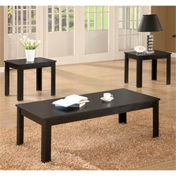 Bowery Hill 3 Piece Casual Occasional Table Set in Black